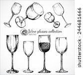 wine glasses   sketch and... | Shutterstock .eps vector #244681666