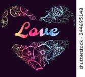 watercolor stylized heart... | Shutterstock .eps vector #244695148