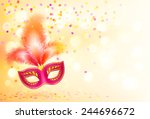 red vector carnival mask with... | Shutterstock .eps vector #244696672