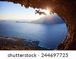 male rock climber flexing his...   Shutterstock . vector #244697725