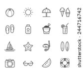 summer icons and beach icons | Shutterstock .eps vector #244716742