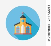 building church flat icon with... | Shutterstock .eps vector #244722055