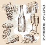 bottle of sparkling wine and... | Shutterstock .eps vector #244782436