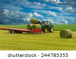 Tractor And Trailer With Hay...