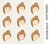 face of a young girl cartoon... | Shutterstock .eps vector #244790005