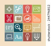 set of simple icons for web... | Shutterstock .eps vector #244796812