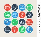 set of simple icons for web... | Shutterstock .eps vector #244796836