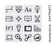 set of simple icons for web... | Shutterstock .eps vector #244796872