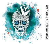 vector illustration of a skull... | Shutterstock .eps vector #244852135