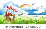 basket with eggs by spring... | Shutterstock .eps vector #24485770