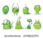 eight funny green bacteria on... | Shutterstock .eps vector #244863292
