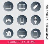 gadgets trendy round icons set...