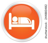 Hotel Bed Icon Orange Glossy...