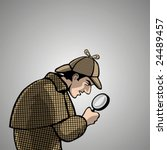 detective with a magnifying... | Shutterstock .eps vector #24489457