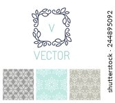 vector set of floral border and ... | Shutterstock .eps vector #244895092