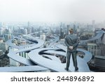businessman stands choosing his ... | Shutterstock . vector #244896892