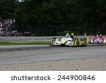 Elkhart Lake Wisconsin, USA - August 18, 2012: Road America Road Race Showcase, ALMS / IMSA sports car race. American Le Mans Series. Kyle Marcelli, Chapman Ducote, James French - stock photo