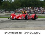 Elkhart Lake Wisconsin, USA - August 18, 2012: Road America Road Race Showcase, ALMS / IMSA. American Le Mans Series Four-hour, timed period. Bruno Junqueira, Roberto Gonzalez, - stock photo