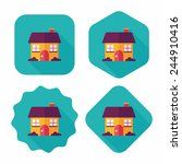 building house flat icon with...   Shutterstock .eps vector #244910416