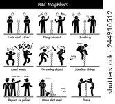 bad neighbors stick figure... | Shutterstock .eps vector #244910512