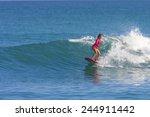 surfer girl on the wave ... | Shutterstock . vector #244911442
