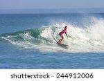 surfer girl on the wave ... | Shutterstock . vector #244912006