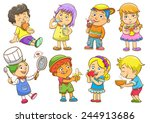 Set Of Child Activities Routines