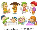 set of daily activities routines | Shutterstock .eps vector #244913692