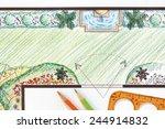 garden plan with wall fountain. | Shutterstock . vector #244914832
