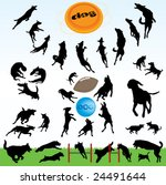 Stock vector dogs silhouette part of happy dog s play 24491644