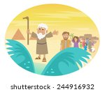 moses splitting the sea   cute... | Shutterstock .eps vector #244916932