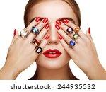 portrait of beautiful woman... | Shutterstock . vector #244935532