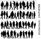 people silhouettes collection | Shutterstock .eps vector #244948588
