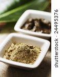 algae powder and natural mud for skin care - stock photo