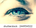 woman eye macro instagram style | Shutterstock . vector #244954522