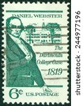 Small photo of USA - CIRCA 1969: A stamp printed in United States of America shows Daniel Webster, politician and lawyer, devoted to The Dartmouth College Case 1819, circa 1969