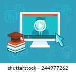vector webinar concept in flat... | Shutterstock .eps vector #244977262