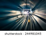 subway tunnel with blurred... | Shutterstock . vector #244981045