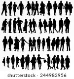 collection of people silhouettes | Shutterstock .eps vector #244982956