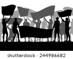 protesters angry people crowd...   Shutterstock .eps vector #244986682