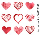 set of watercolor hearts.... | Shutterstock .eps vector #244992142