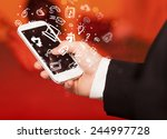 hand holding smartphone with... | Shutterstock . vector #244997728