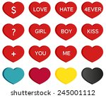 set of 16 heart icons with...   Shutterstock .eps vector #245001112