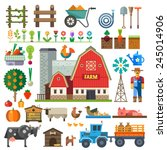 farm in village. elements for... | Shutterstock .eps vector #245014906