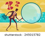 businessman uses magnifying... | Shutterstock .eps vector #245015782