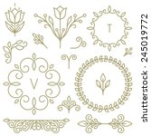 Stock vector vector set of line design elements for logos frames and borders in modern style 245019772