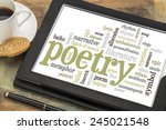 Small photo of poetry word cloud on a digital tablet with cup of coffee