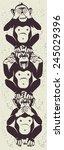 three little monkeys totem... | Shutterstock .eps vector #245029396