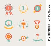 first place badges and  ribbons ... | Shutterstock . vector #245036722