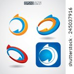 color arrows icon set  abstract ... | Shutterstock .eps vector #245037916